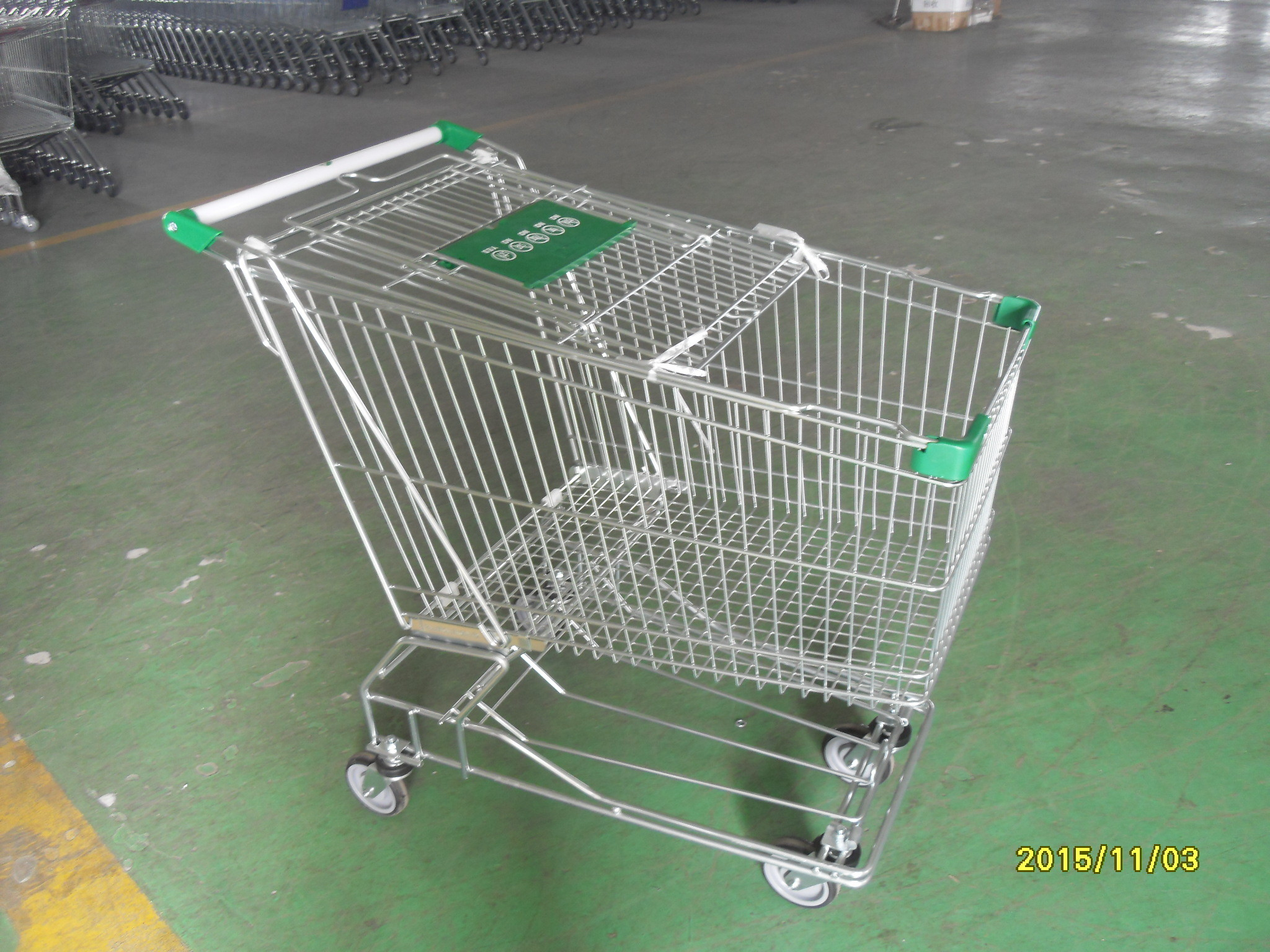Asian Style 180 Liter Steel Wire Shopping Trolley With Handle Logo