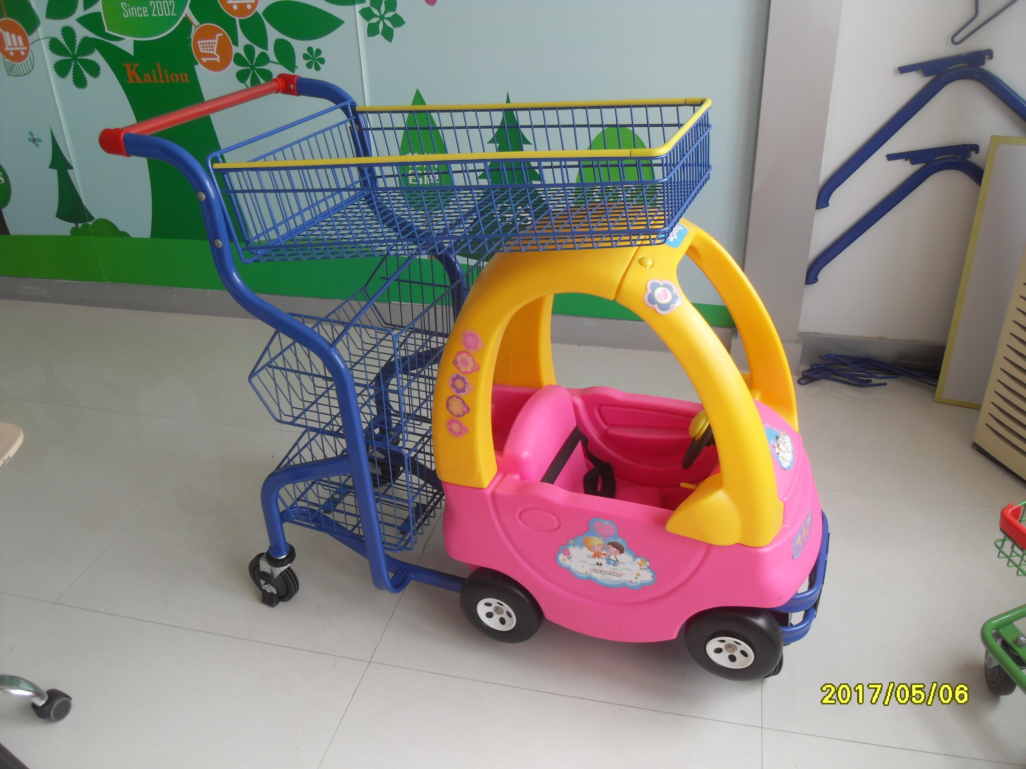 Plastic 70L Supermarket Kids Play Shopping Cart With Color Powder Coating