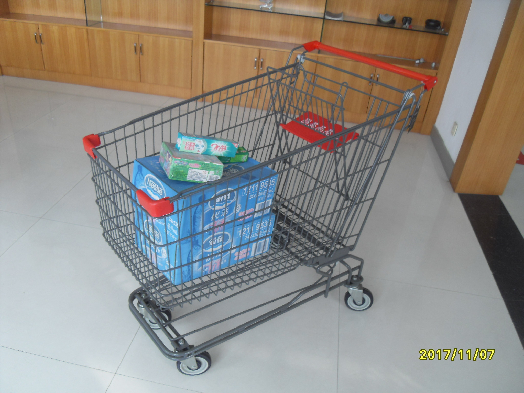 210L Asian Type Wire Shopping Trolley Wiht Grey Powder Coating