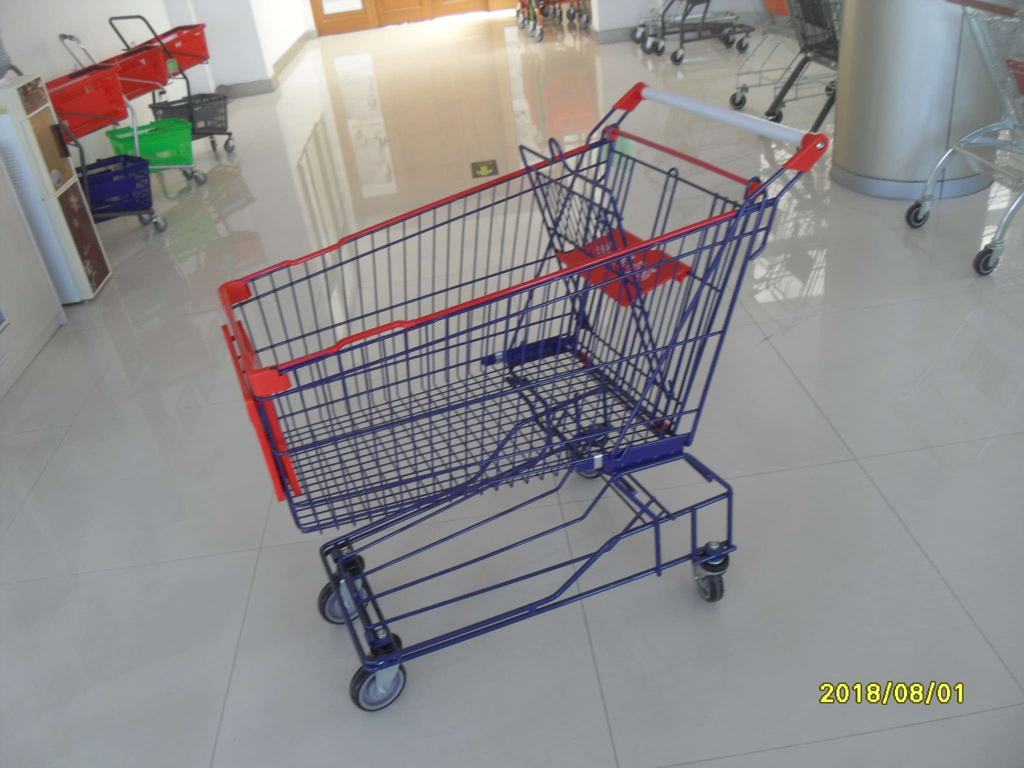 Supermarket 150L Wire Shopping Cart 1010 x 580 x 1016mm With 4 Flat Casters