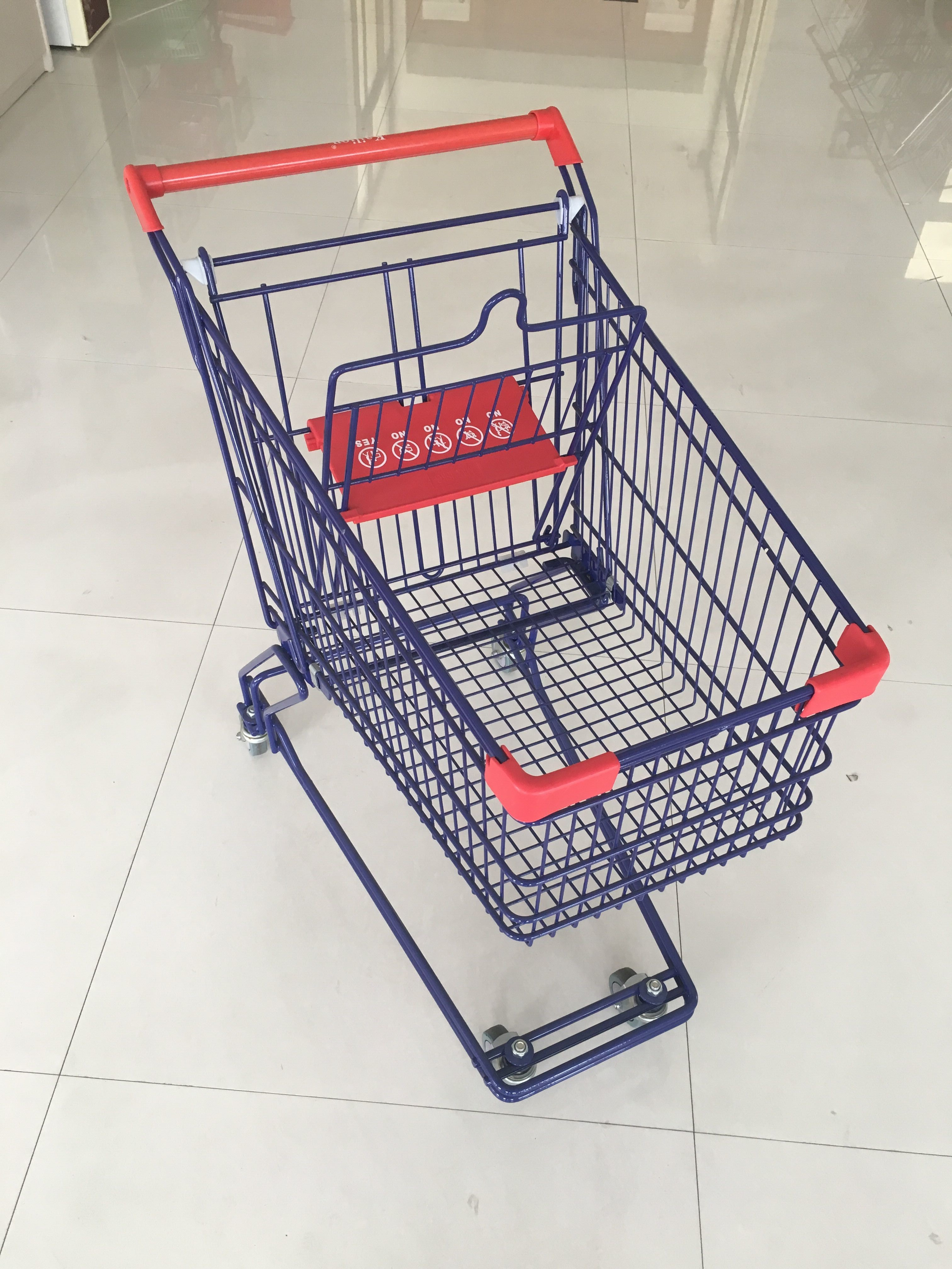 KLO - Y -75L Wire Shopping Cart With Easy Pushing Handle And Red Plastic Parts