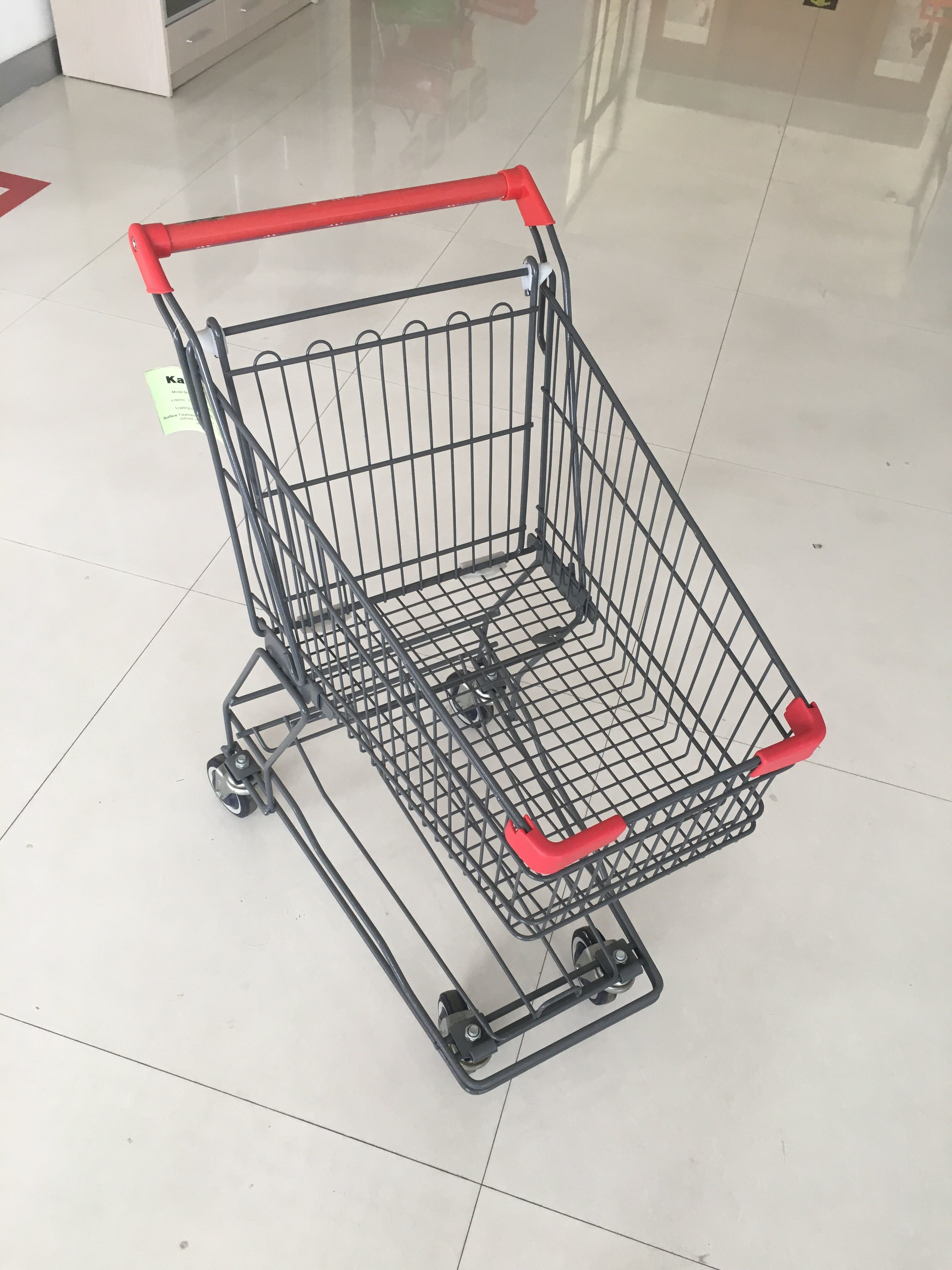Base Grid 45L Wire Shopping Trolley Supermarket Shopping Cart Red Handle Bar
